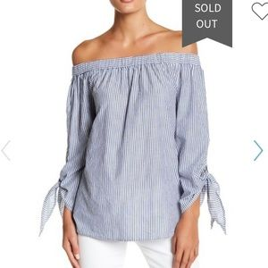 NWT Beachlunchlounge Paige Off Shoulder Stripe Top